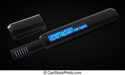 high tech pregnancy test with screen.3d illustration