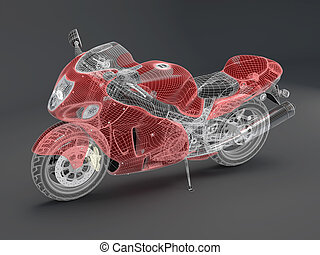 high-tech red motorcycle