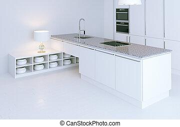 high-tech, render, cuisine, perspective, intérieur, design., blanc, vue, 3d