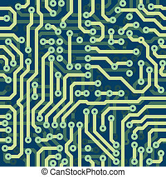 High tech schematic seamless vector texture - blue electronic circuit board