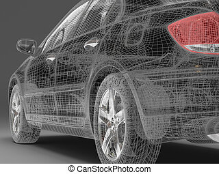high-tech - High resolution image car on a black background....