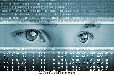 high-tech technology background with eyes on computer display