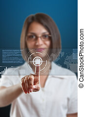 High technology concept - Business woman pointing on sensor...
