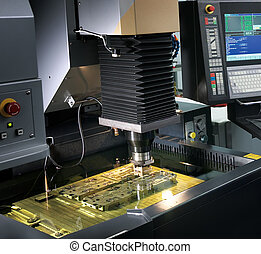 high technology machine with computer, industrial shot