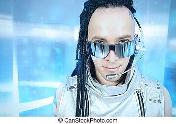 high technology - Eccentric futuristic man in silver costume...