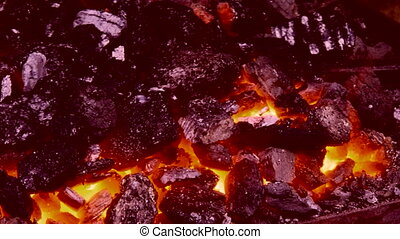 High temperature coal - Embers on the hearth are ready to...