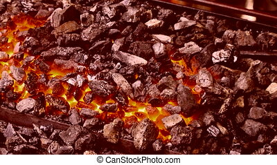 High temperature - Embers on the hearth are ready to work a...