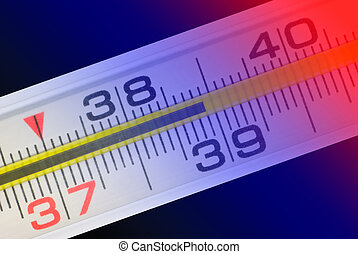 Thermometer (shows high temperature). Art illumination.