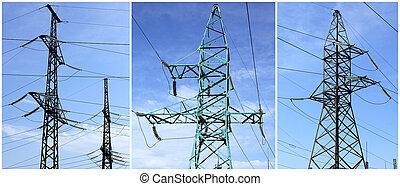 high-tension, linha, poder