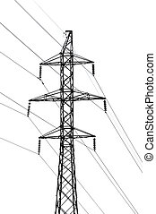 High-tension power line isolated over white