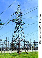 High tension power line - High-tension power line with...