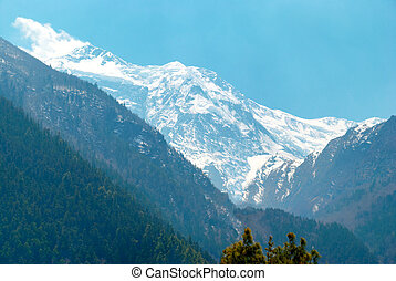 High Tibetan mountains in snow, Annapurna trek