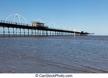 High tide at Southport pier in England - Unusual combination...
