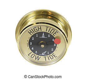 Brass high tide meter to count down to the number of hours for high and low tides - path included