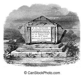 High tomb in La Tour d'Auvergne on the battlefield, vintage ...