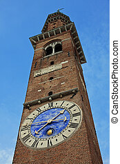 high tower with clock in red brick Basilica Palladiana in vicenza