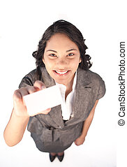 High view of a businesswoman holding a white card