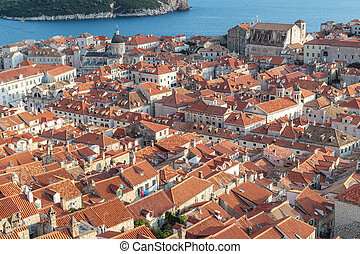 High view to old town Dubrovnik in Croatia in a sunny day