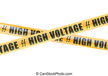 High Voltage Barrier Tapes, 3D rendering isolated on white...