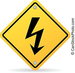 High voltage bolt warning sign
