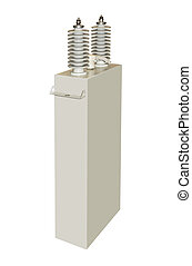High-voltage capacitor on a white background
