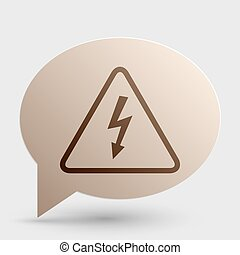 High voltage danger sign. Brown gradient icon on bubble with shadow.