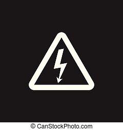 High voltage danger sign icon. Danger electricity vector illustration on black background.