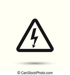 High voltage danger sign icon. Danger electricity vector illustration on white background.