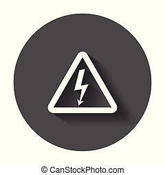 High voltage danger sign icon. Danger electricity vector illustration with long shadow.