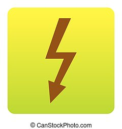 High voltage danger sign. Vector. Brown icon at green-yellow gradient square with rounded corners on white background. Isolated.