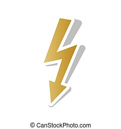High voltage danger sign. Vector. Golden gradient icon with whit