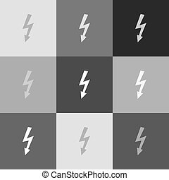 High voltage danger sign. Vector. Grayscale version of Popart-style icon.