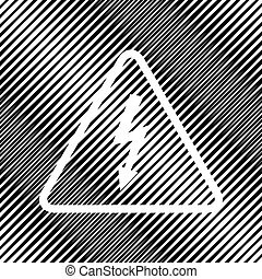 High voltage danger sign. Vector. Icon. Hole in moire background