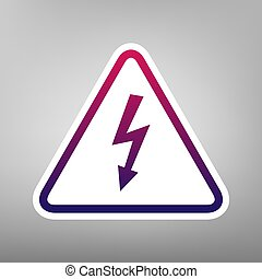 High voltage danger sign. Vector. Purple gradient icon on white paper at gray background.