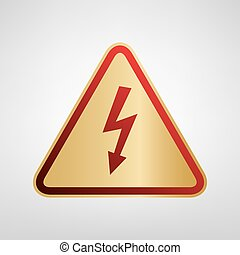 High voltage danger sign. Vector. Red icon on gold sticker at light gray background.
