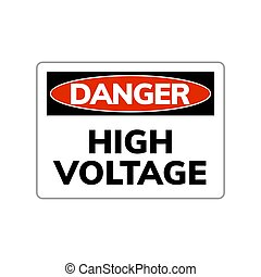 High voltage danger sign. Vector warning symbol electric power high voltage