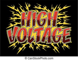 high voltage design with electrical bolts shooting out for...