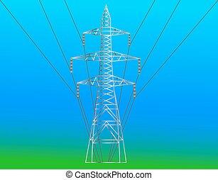 high voltage electric line against blue sky