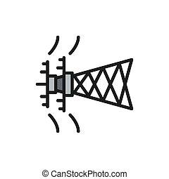 High voltage electric line pylon, energy pole flat color line icon.