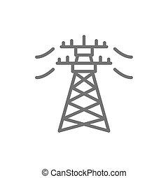 High voltage electric line pylon, energy pole line icon.