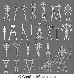 High voltage electric line pylon. Icon set suitable for creating infographics. web site content etc