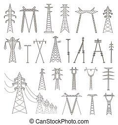High voltage electric line pylon. Icon set suitable for creating infographics. web site content etc.
