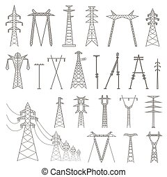 High voltage electric line pylon. Icon set suitable for...