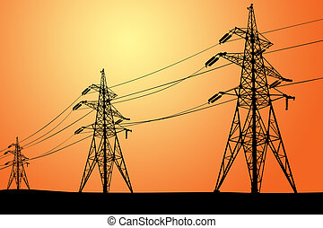 high voltage electric line - silhouette of Power lines and ...