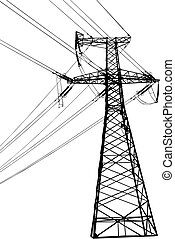 Vector silhouette of high voltage electric line against blue sky