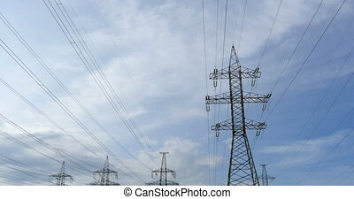 High-voltage electric lines panorama - High-voltage electric...
