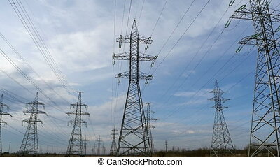 High-voltage electric lines time lapse - High-voltage...