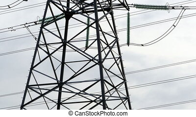 High Voltage Electric Pylon, panorama down up