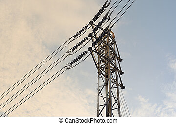 High voltage electrical pylon with blue sky