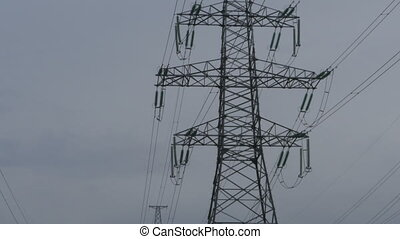 High voltage electricity - High voltage power line pylons,...